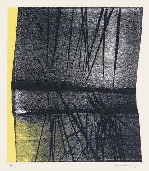 HANS HARTUNG   Composition in Yellow and Black.   Color lithograph, circa 1972  Signed and numbered 83/90 in pencil, lower margin. Printed and published by Erker Presse, Saint Gallen