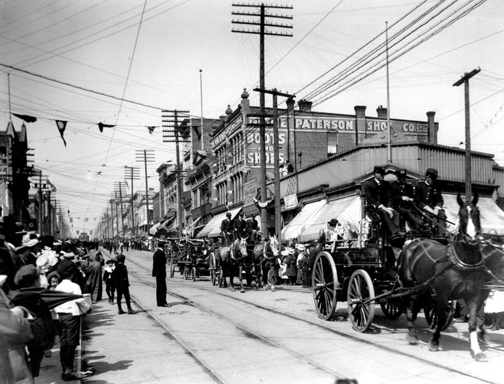 West Hastings, Thursday 1 September 1904 Looking west from Cambie during the Labour Day parade. Note that the building on the right is where the Dominion Building stands today. Source: Photo by Philip Timms, City of Vancouver Archives #1376-720