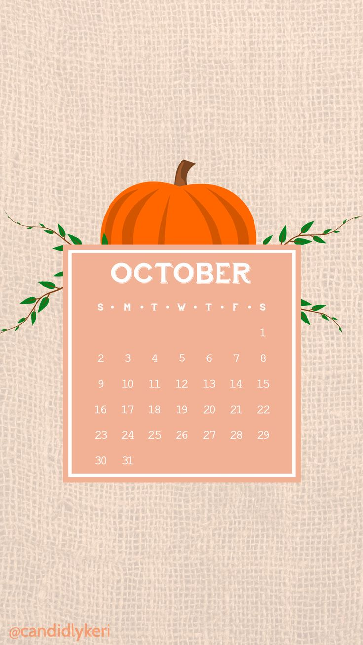 Cute cartoon pumpkin vector burlap sack October calendar 2016 wallpaper you can download for free on the blog! For any device; mobile, desktop, iphone, android!