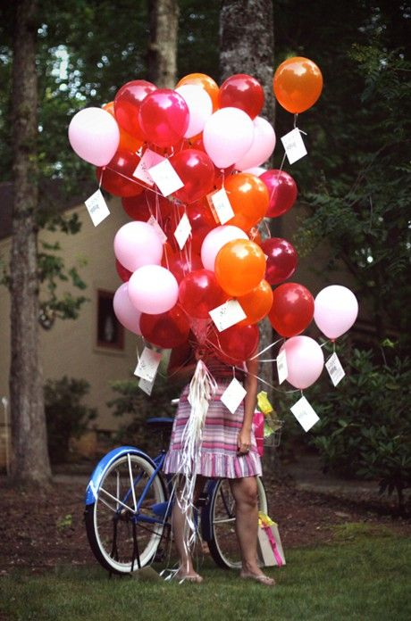 """I want to do this for someone I love someday, with the messages inside the balloons and one balloon that says """"Pop me first"""" so I can explain that the messages are in the balloons and you have to pop them to read them. :D"""
