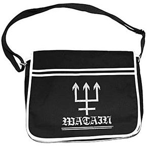 "Official polyester Watain black with white trim retro style messenger bag with rebel logo on front flap  Features: * Full-size main compartment and zippered front compartment with zippered front mesh interior pouch * Adjustable shoulder strap. * Velcro seal front flap * Approx. Dimensions: 40cm (16"")"" x 30cm 11.5"""