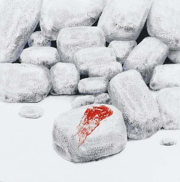 Πέτρα με κόκκινο πανί. Ακρυλικό, κάρβουνο και μελάνι σε μουσαμά.Σωτήρης Σόρογκας
