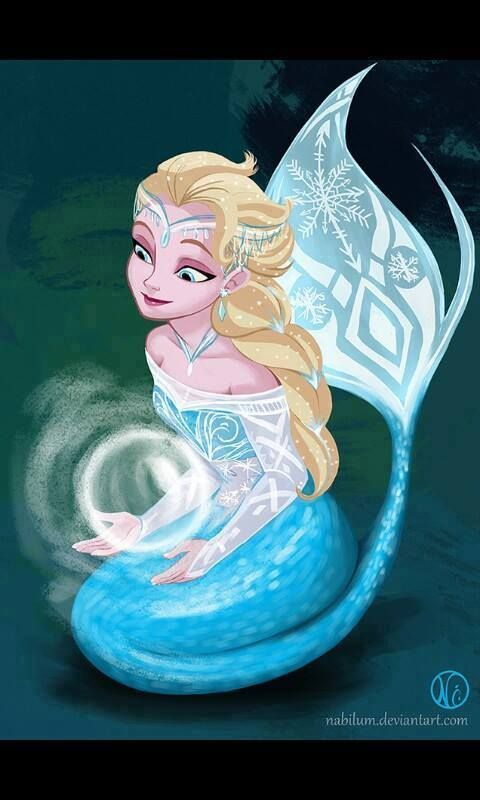 Elsa as a mermaid. I think this us what K wants to be when she's grows up.