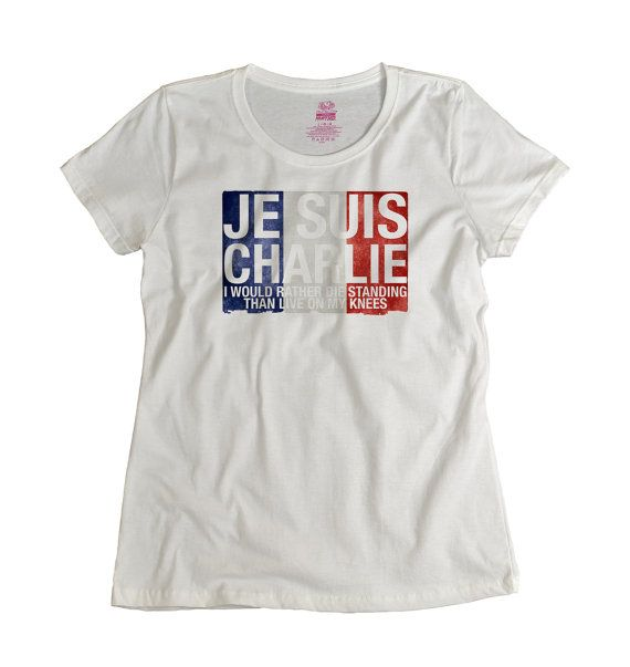 Love this t shirt and the meaning behind it - Je Suis Charlie Tshirt Stand strong with France tee by UnicornTees