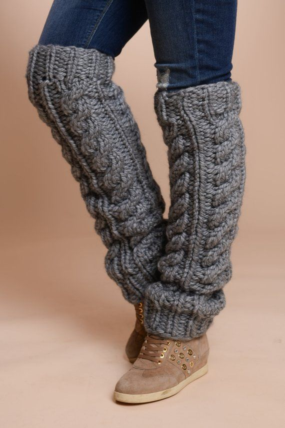 Wolle Leg Warmer, Kabelstrickbonwärmer, Handstricksocken