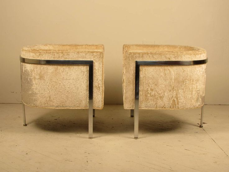 Covetable Pair Of Harvey Probber Club Chairs In Chrome And Velvet Nice Look