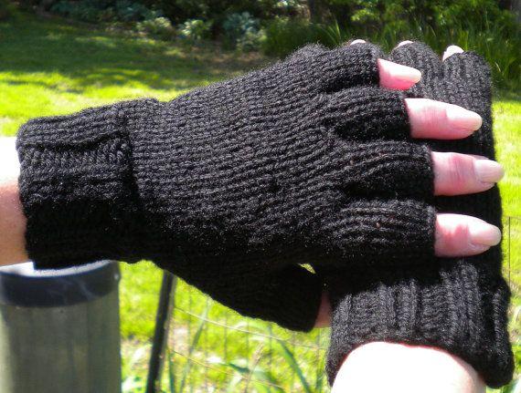 Half Finger Gloves Hand Knit Ladies' Black Merino Gloves ...