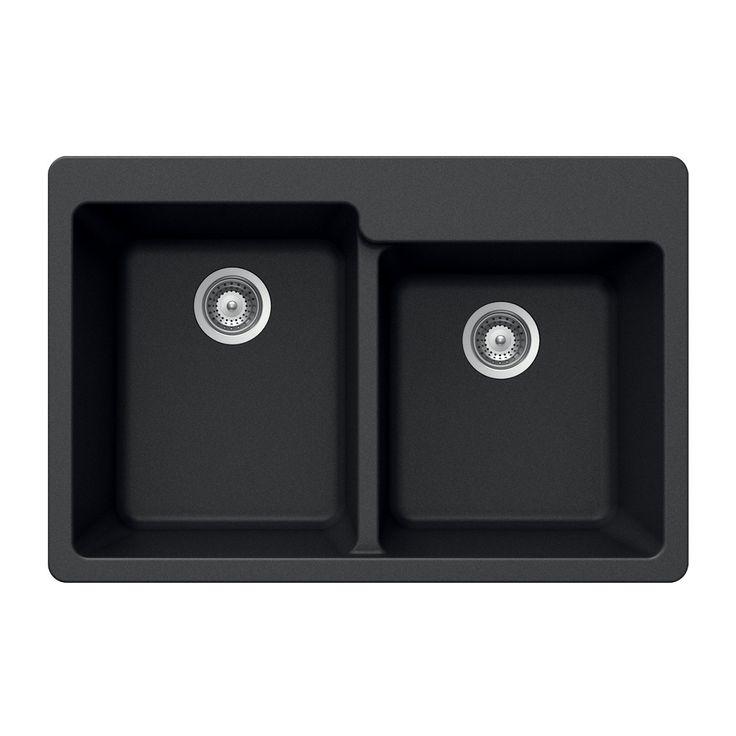 Houzer M-175 MIDNITE Quartztone Series Granite Topmount 60/40 Double Bowl Kitchen Sink, Black