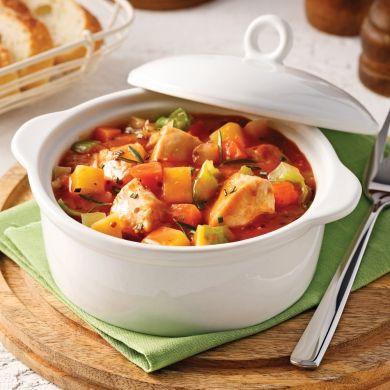 Mijoté de poulet aux légumes et moutarde à l'ancienne - Soupers de semaine - Recettes 5-15 - Recettes express 5/15 - Pratico Pratique
