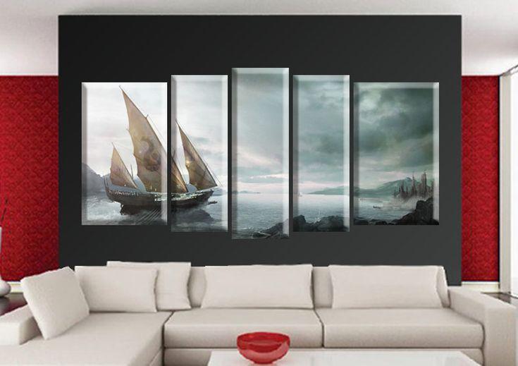 Tablou Boat 9907 Dimensiuni: 2x 30x50 cm - 2x 20x55 cm - 1x 20x60 cm Total: 120x60 cm