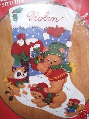 """Bucilla Felt Applique Christmas Stocking Kit,WOODLAND WISHES,Bears,Size 15"""",NIP"""