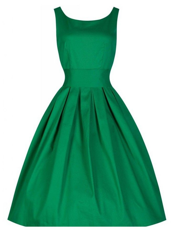 Green 50s Vintage Style Rockabilly Pleated Cocktail Party Dress Kleider Damen Partykleid 50er Jahre Kleidung
