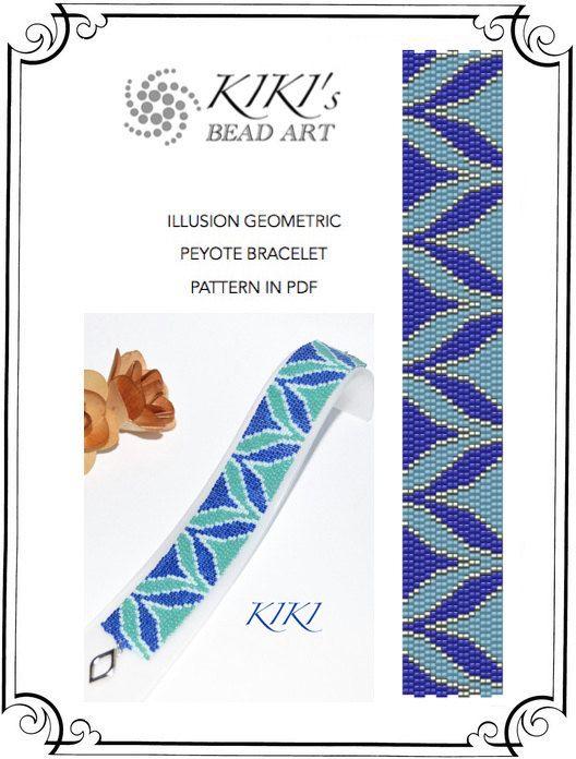 Pattern, peyote bracelet - Illusion peyote bracelet pattern PDF instant download
