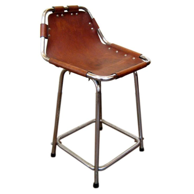 Charlotte Perriand Chrome And Leather Bar Stool