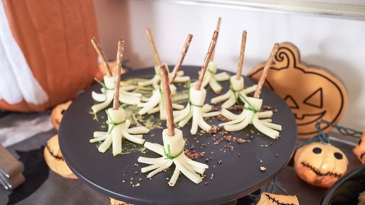 Giada shows how to assemble Witches' Brooms for a cute Halloween snack.