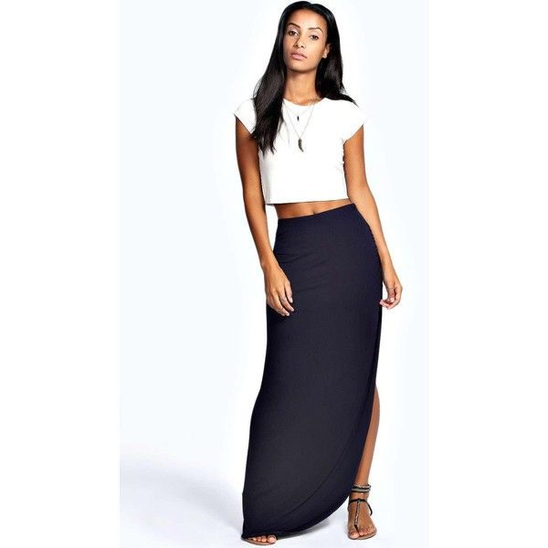Boohoo Basics Michelle Viscose Maxi Skirt ($16) ❤ liked on Polyvore featuring skirts, navy, midi skirt, high low maxi skirt, floral skater skirt, navy blue maxi skirt and navy maxi skirt
