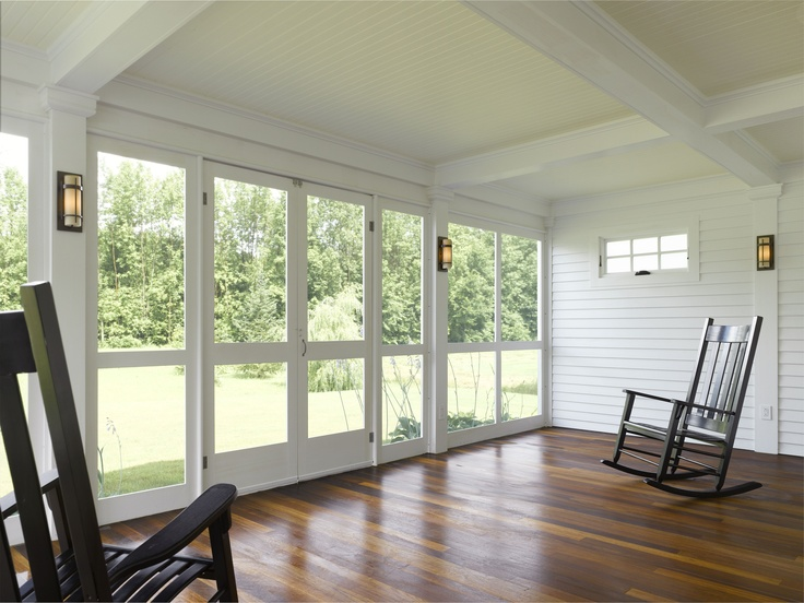 Screened Porch On A New Greek Revival Lake House By Connor Homes