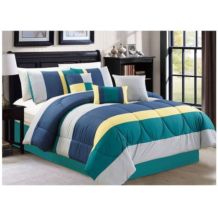 7 pc queen king luxury comforter set green teal blue Teal bedding sets