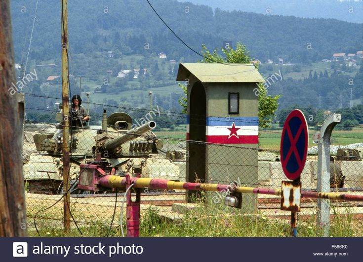 War in ex Yugoslavia, Serbian tanks blocked in their barracks besieged by Slovenian militia during the independence war of July 1991.
