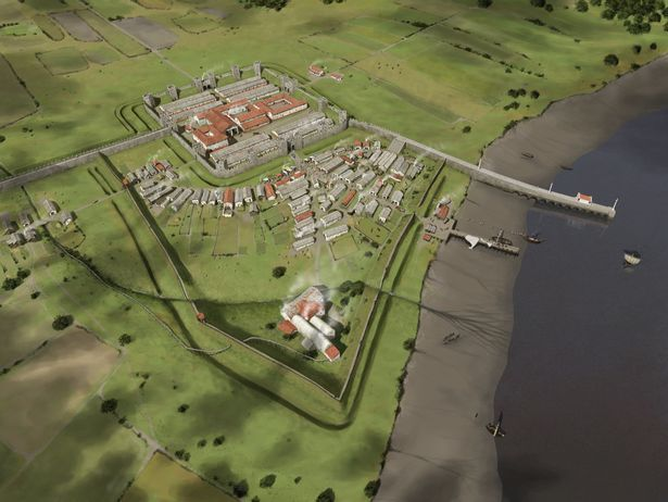 Aerial view of Segedunum Roman fort and civilan settlement at what is now Wallsend