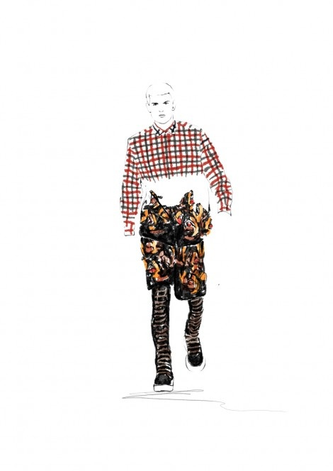 Givenchy menswear illustration by Spiros Halaris