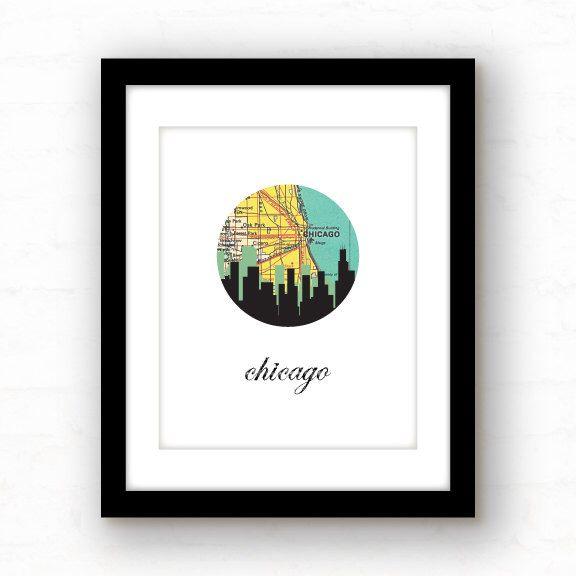 Chicago skyline art print -Urban Art -  Chicago cityscape - graphic art print by PaperFinchDesign on Etsy https://www.etsy.com/listing/115167076/chicago-skyline-art-print-urban-art