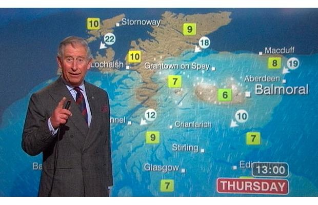 A still image from video shows Britain's Prince Charles presenting a special weather forecast during a visit to BBC Scotland's headquarters in Glasgow, Scotland MAY 10, 2011.Photograph by: Pool, Reuters