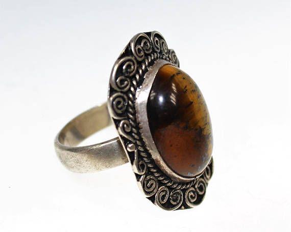 Silber Ring mit Tigerauge 19 mm Innendurchmesser Vintage