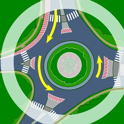 ... and cyclists share the roundabout Graphic provided by Transport Canada