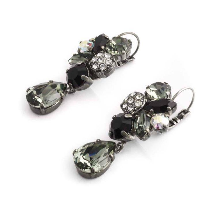 Moliere Paris Grijs zwarte oorbellen van Moliere Paris met Swarovski Elements kristallen