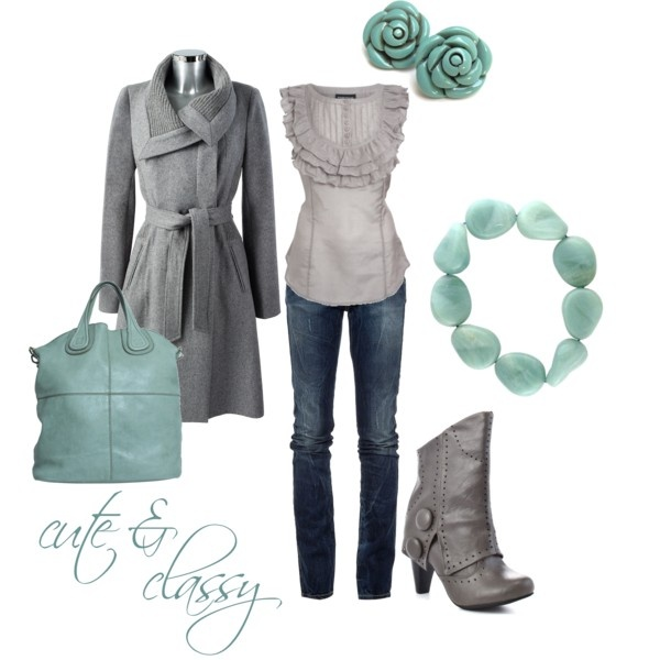 teal & gray: Teal And Grey, Outfits, Colors Combos, Shirts, Blue, Than, Gray Lov, Boots, Earrings