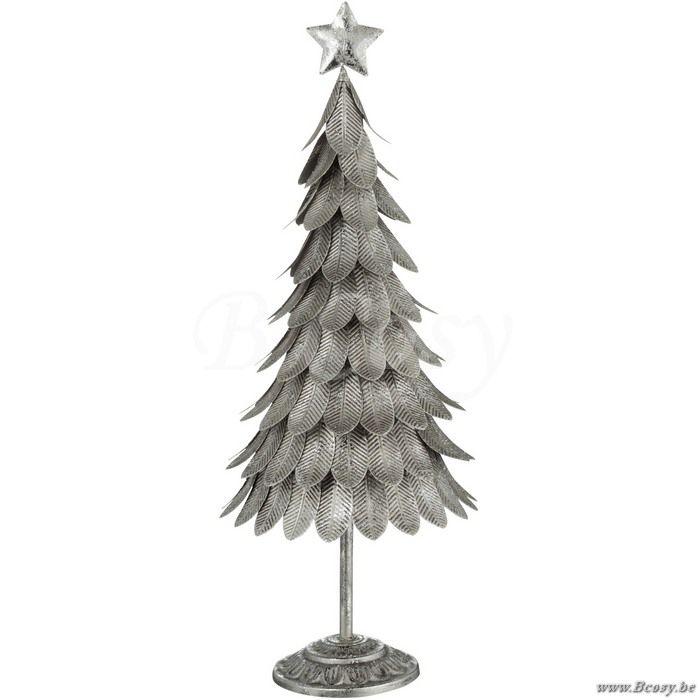 J-Line Kerstboom met antiek zilveren blaadjes metaal 60h - Winter Kerst - BCosy Webshop Boutique Web Vente en Ligne