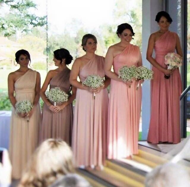 Five amazing shades brought together for one amazing bridal party. Dresses available at Nora and Elle Bridesmaids.