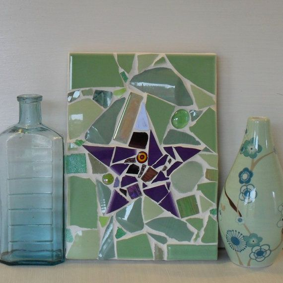 Star Art Mosaic Wall Decor Panel in light green by michelewebber, £22.00