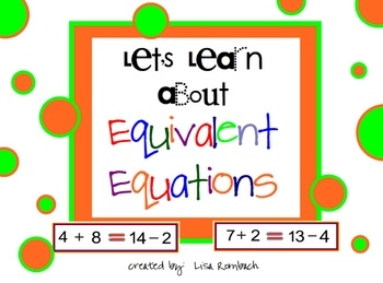 smartboard lesson for grades 1-2 on equivalent equations  (.notebook file)