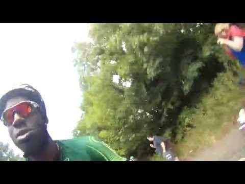 le tour de france rider Kevin Reza picks up my helmet cam