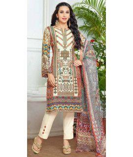 Dazzle Cream And Multi-Color Pashmina Straight Suit.