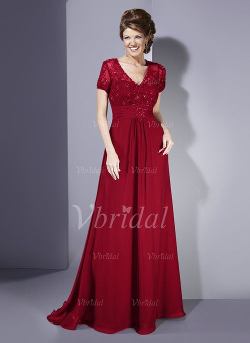 Mother of the Bride Dresses - $157.99 - A-Line/Princess V-neck Court Train Chiffon Lace Mother of the Bride Dress With Ruffle Beading (00805006691)