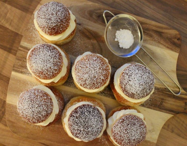 Shrove bun with whipped cream and almond filling.