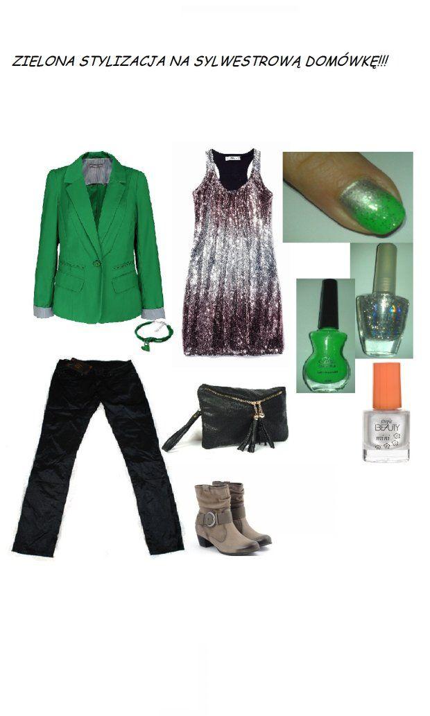 Wasze zielone stylizacje - Joanna880328!  :).  Do #konkursu na #najlepsza #stylizacja zaprasza www.big-active! *soczysty zielony żakiet,  *zielona bransoletka z serduszkiem,  *czarne błyszczące spodnie rurki,  *połyskująca tunika,  *czarna kopertówka,  *kozaki z klamrą,  *zielono- srebrne paznokcie ombre +lakiery do ich wykonania!!!