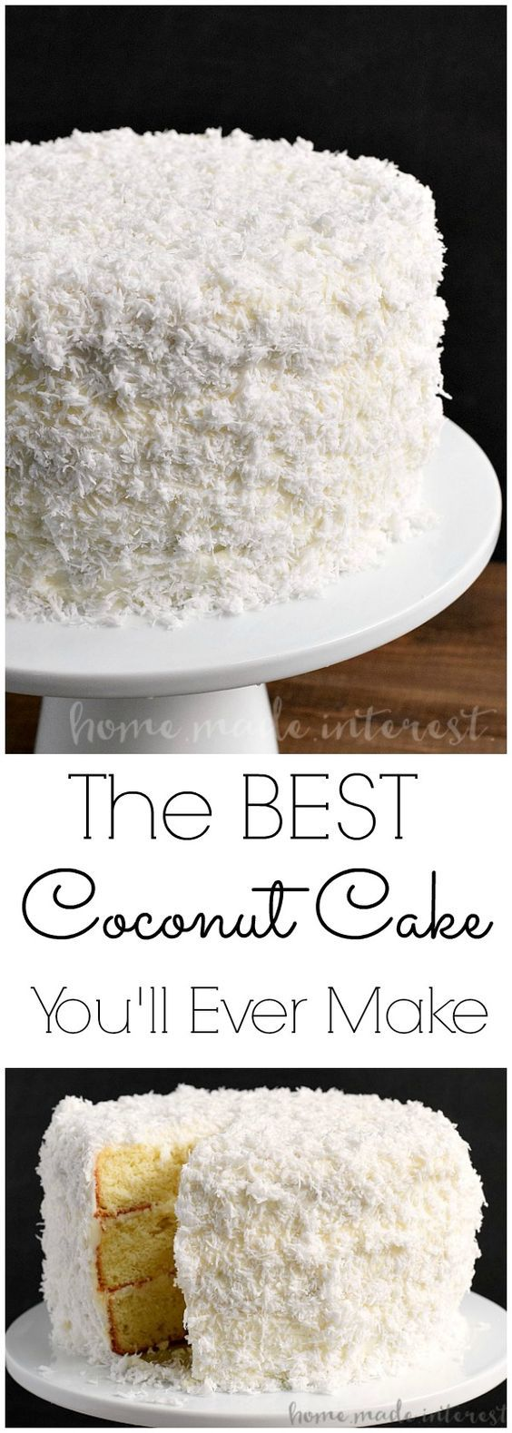 Coconut Cake   This is the best coconut cake recipe I've ever made. This easy coconut cake recipe is moist and delicious and uses fresh coconut! This traditional southern recipe is a delicious coconut cake that makes a perfect Easter dessert, Christmas dessert, or just an amazing cake for a party! This three layer coconut cake is beautiful and delicious!