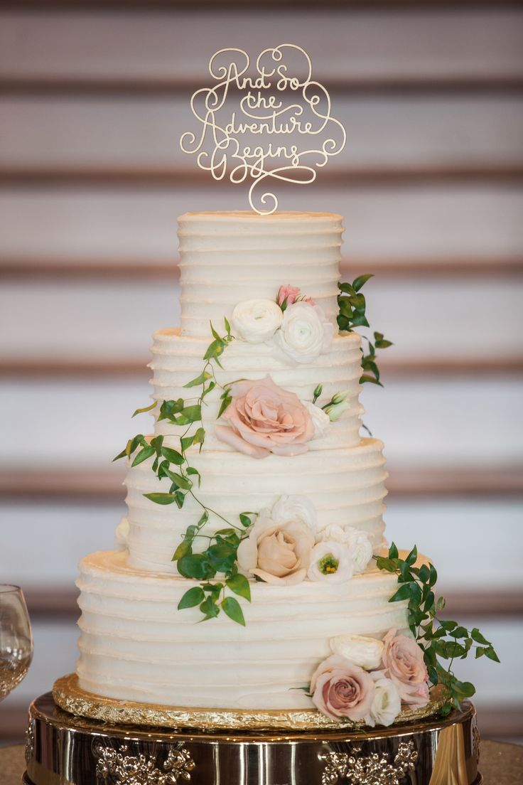 """And so the adventure begins"" gold topper, buttercream wedding cake, pink roses // Jennifer Weems Photography"