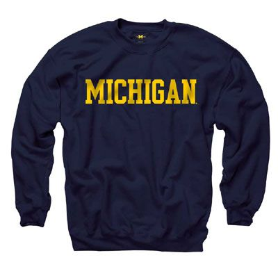 Michigan Athletics Game Day Swag For HIM - New Agenda Basic Navy University of Michigan Crew from the M-Den