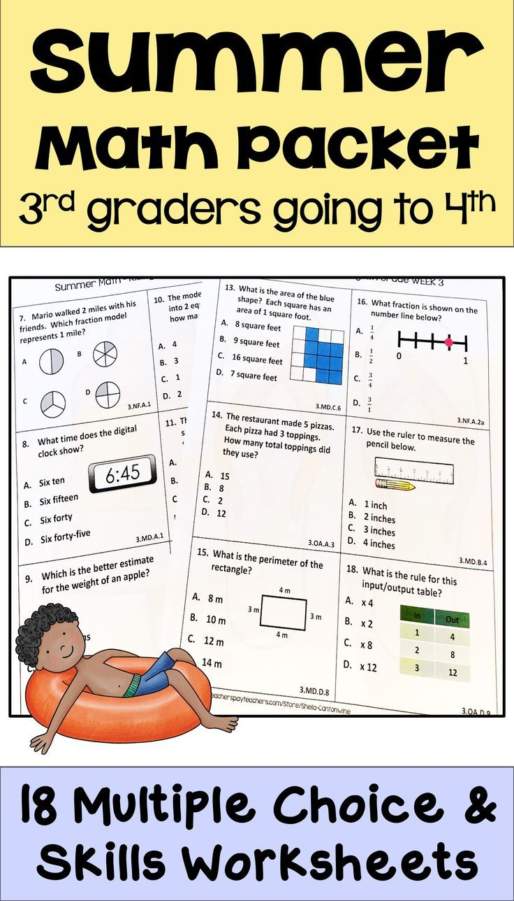 medium resolution of Summer Math Packet for Rising 4th Graders - Review of 3rd Grade Math    Summer math packet