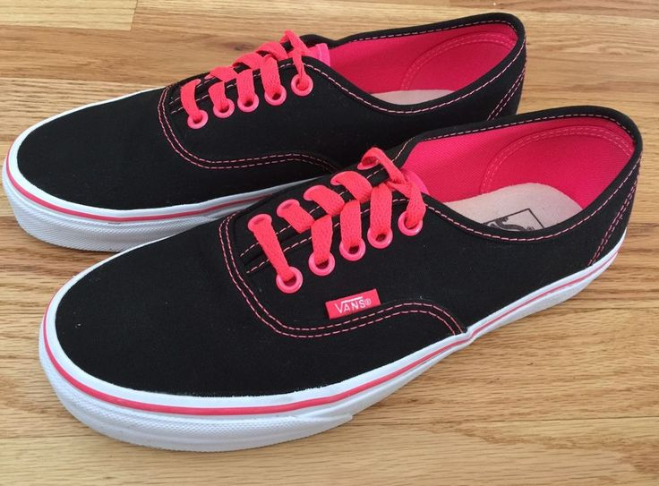 VANS Authentic Shoes Black Orange Size 7.5 Mens / Womens 9 Lace Up Low Top SK8 #VANS #AthleticSneakers