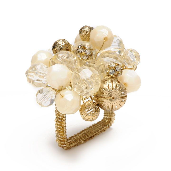 Crystal Bauble Napkin Rings - Gold/Crystal   Gracious Style