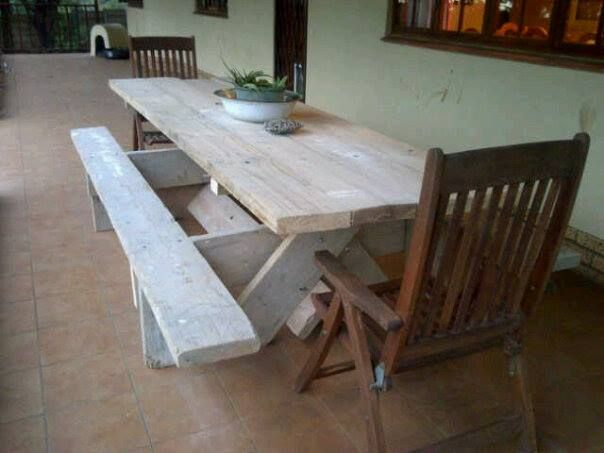 Old Scaffolding Planks make a stunning Table for the patio...