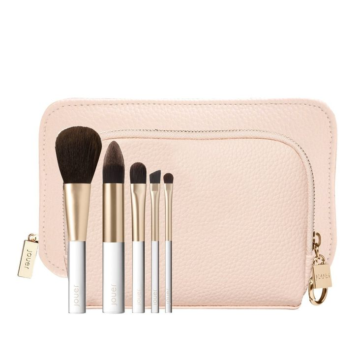 A 7-piece collection of travel necessities for the on-the-go Jouer girl. This luxurious collection features a custom-designed pink pebble deluxe travel case, matching inner cosmetic bag, and 5 synthetic, multi-purpose brushes. COLLECTION INCLUDES• Powder Brush: for face powder and blush• Foundation Brush: angled tip for blending• Powder Eyeshadow Brush: flat dome for easy application• Defined Shadow Brush: for contouring and blending• Liner Brush: for eyeliner application and brow defining•…
