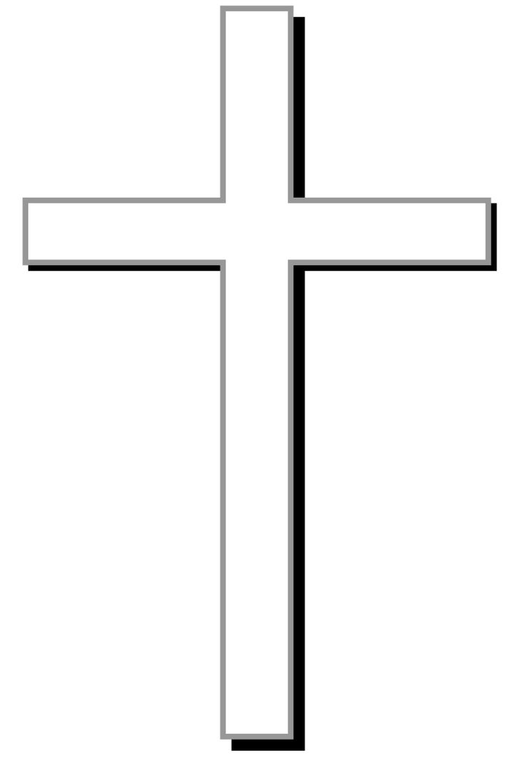 White cross w/ gray outline, black shadow, and light gray ...