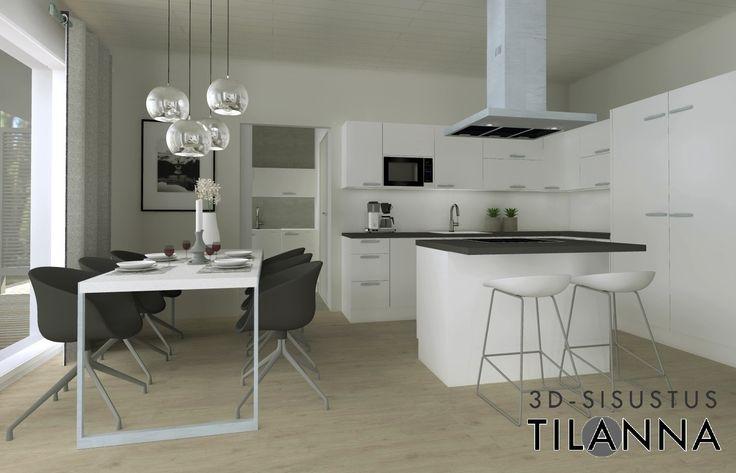 3D  sisustussuunnittelu ja visualisointi moderni valkoinen keittiö, valkois